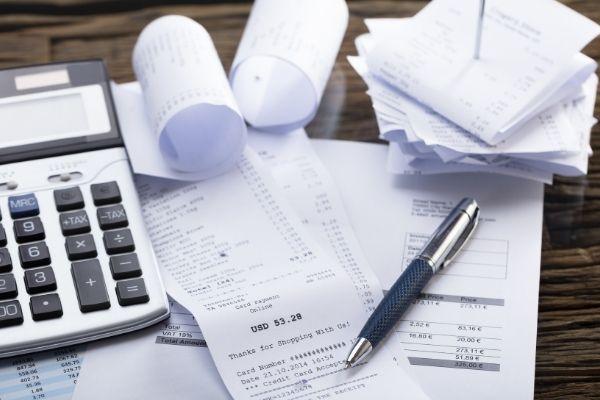 Recibos de comprovação de gastos